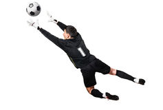 Soccer or football keeper catching ball. Soccer or football goalkeeper is catching a ball, isolated on white background royalty free stock photography