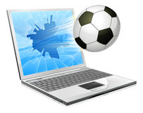 Soccer football laptop concept Royalty Free Stock Image