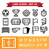 Soccer football  Line icons set 43 Stock Photography