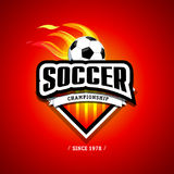 Soccer, football logo. Fire Red, soccer football badge logo design template, sport logotype template. Soccer Themed T shirt. Football logo. Vector illustration Stock Photos