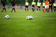 Soccer football match background. Beginning of soccer football match Stock Images