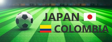 Soccer, football match, Japan vs Colombia. 3d illustration Royalty Free Stock Photography