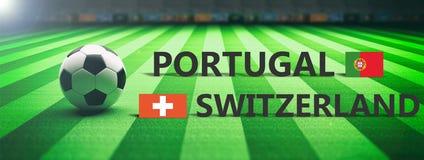 Soccer, football match, Portugal vs Switzerland, 3d illustration Stock Photos