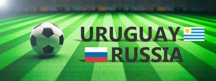 Soccer, football match, Uruguay vs Russia, 3d illustration Royalty Free Stock Photos