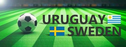 Soccer, football match, Uruguay vs Sweden, 3d illustration Stock Photography