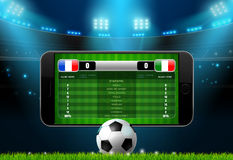 Soccer football mobile live scoreboard. Vector illustration Royalty Free Stock Image