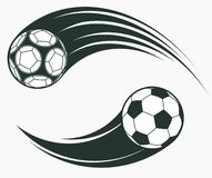 Soccer football moving swoosh elements, dynamic sport sign. Vector. Soccer football moving swoosh elements, ball with motion trails, dynamic sport sign, sporting vector illustration