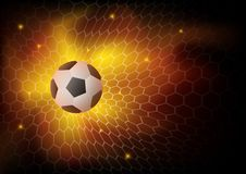 Soccer football  in the net, fire background. Fire football background, Abstract ball game match goal moment with ball in the net. Vector illustration for the Stock Image