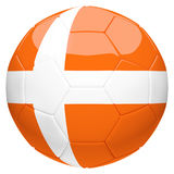 Soccer football with Netherlands orange flag 3d rendering Royalty Free Stock Images