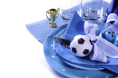 Soccer football party table in blue and white team colors Royalty Free Stock Photo