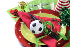 Soccer football party table in red white and green Royalty Free Stock Photography