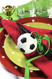 Soccer football party table red white and green team colors - cl Royalty Free Stock Images