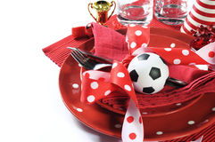 Soccer football party table in red and white team colors Stock Image