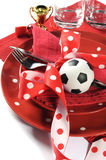 Soccer football party table in red and white team colors - close Royalty Free Stock Image