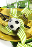Soccer football party table in yellow and green team colors - cl Stock Photography