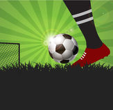 Soccer or football player with ball on grass  background Stock Image
