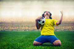 Soccer or football player celebrating goal Stock Images
