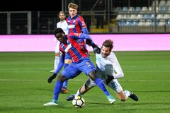 Soccer or football player in duel. RIJEKA, CROATIA - December 2, 2017: Soccer players Alexander Gorgon in duel with Hamza in soccer match between HNK Rijeka and Royalty Free Stock Photos