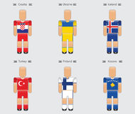 Soccer football player flag europe uniform icon group i Stock Images