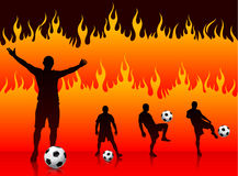 Soccer/Football Player on Hell Fire Background Stock Images