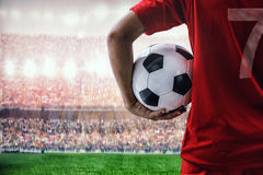 Soccer football player in red team concept Stock Photos