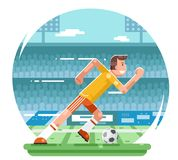 Soccer football player running character stadium background flat design vector illustration. Soccer football player running stadium character background flat Royalty Free Stock Photos