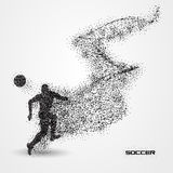 Soccer football player of a silhouette from particle. Background and text on a separate layer. color can be changed in one click Royalty Free Stock Photo