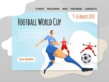Soccer football players in abstract flat style. Vector illutration, design template of sport site, banner or poster. Soccer football players in abstract flat Royalty Free Stock Photos