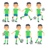 Soccer, football players playing ball set of vector flat characters Stock Image