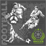Soccer and football players plus emblems for sport Stock Photography
