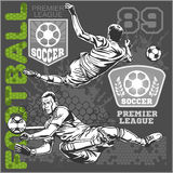 Soccer and football players plus emblems for sport Royalty Free Stock Photo