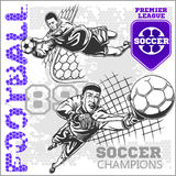 Soccer and football players plus emblems for sport Royalty Free Stock Photos