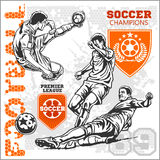 Soccer and football players plus emblems for sport Stock Images