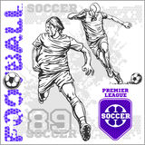 Soccer and football players plus emblems for sport Royalty Free Stock Photography