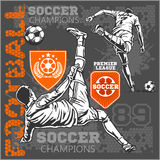 Soccer and football players plus emblems for sport Royalty Free Stock Image