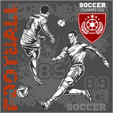 Soccer and football players plus emblems for sport Royalty Free Stock Images