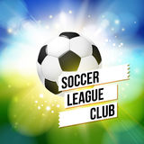 Soccer football poster. Bright bokeh background, typography desi. Gn, realistic football ball. Vector illustration Royalty Free Stock Photo