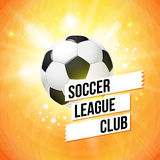 Soccer football poster. Bright orange background, typography des Royalty Free Stock Photos