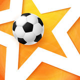 Soccer football poster. Bright orange background, white star and Stock Image