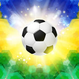Soccer football poster. Mosaic background in Brazil flag colors. Stock Image