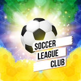 Soccer football poster. Mosaic background in Brazil flag colors. Royalty Free Stock Photo