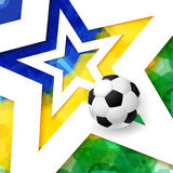 Soccer football poster. Mosaic background in Brazil flag colors, Royalty Free Stock Photos