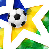Soccer football poster. Mosaic background in Brazil flag colors,. White star and realistic soccer ball. Vector illustration Stock Photo