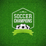 Soccer football poster. Soccer football field background. Royalty Free Stock Images