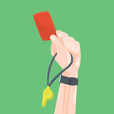 Soccer / Football Referee Hand With Red Card Whistle. Stock Images