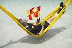 Soccer Football Referee Relaxes on Brazilian Beach Royalty Free Stock Photos