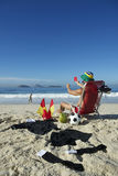 Soccer Football Referee Relaxing on Beach Chair Brazil Royalty Free Stock Image