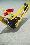 Soccer Football Referee Relaxing on Brazilian Beach Royalty Free Stock Photos