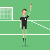 Soccer / Football Referee Showing Red Card On Game Field. Stock Images