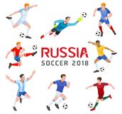 Soccer football 2018 Russia. Group of soccer player. Vector illustration Stock Photography